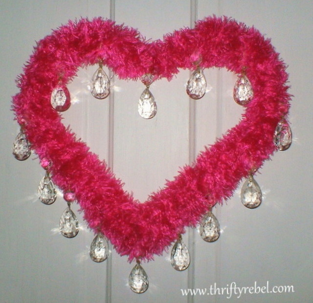 Pink Scarf and Crystal Heart Wreath