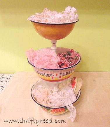 Vintage Enamel Bowl Tiered Stand