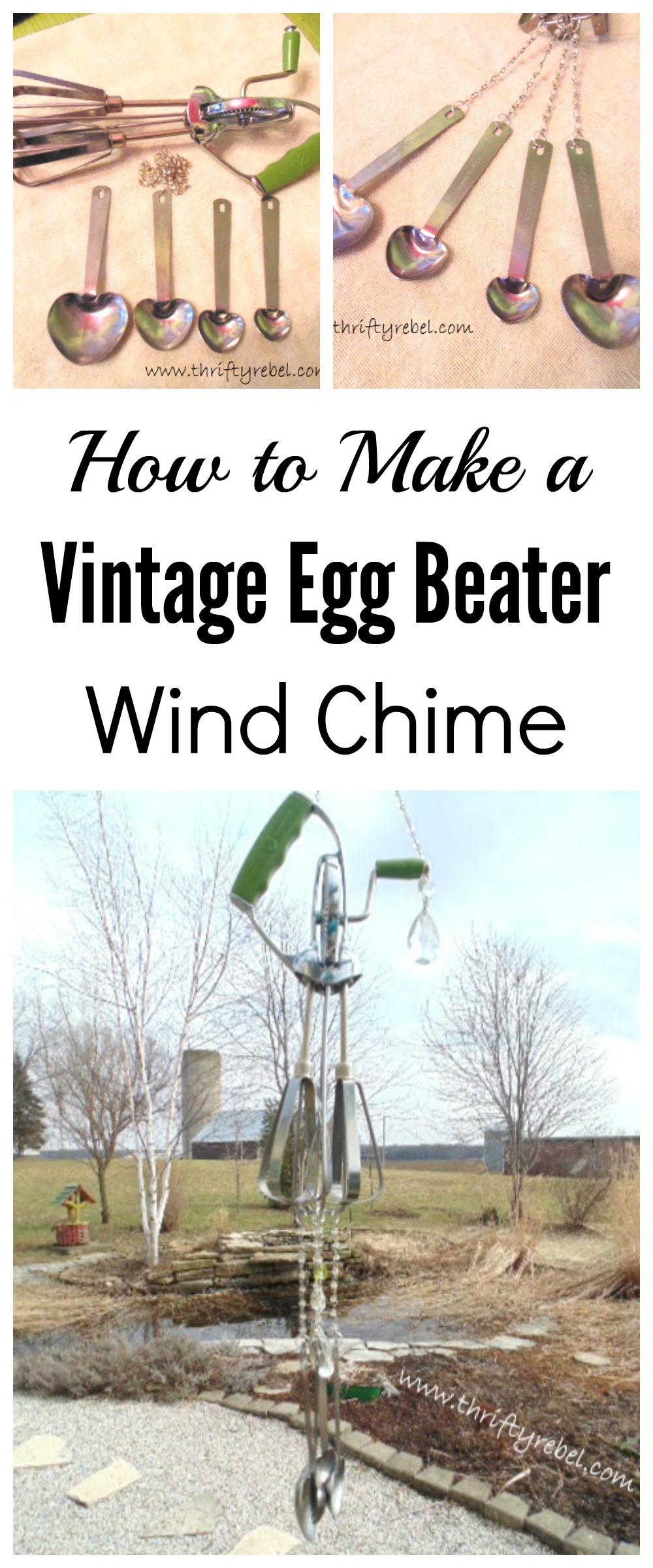 vintage egg beater wind chime