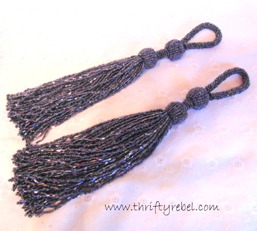 glass bead hematite tassel