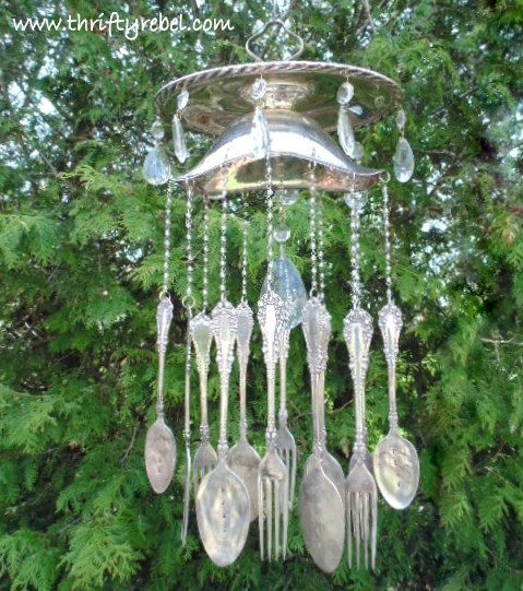 Silver Gravy Boat Silverware Hand Stamped Wind Chimes