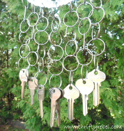 Vintage Silver Dish and Keys Wind Chime