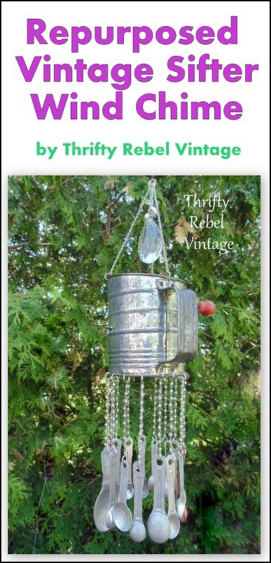 repurposed sifter and measuring spoon wind chime