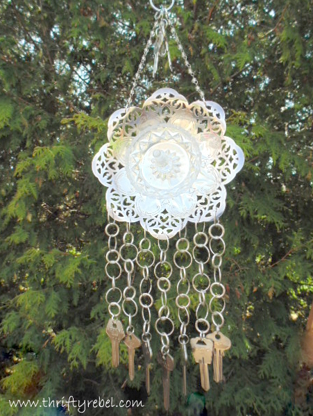 Silver Plate Dish and Keys Wind Chimes