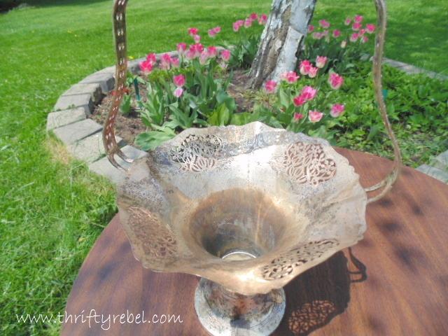 Vintage Silver Basket Vase
