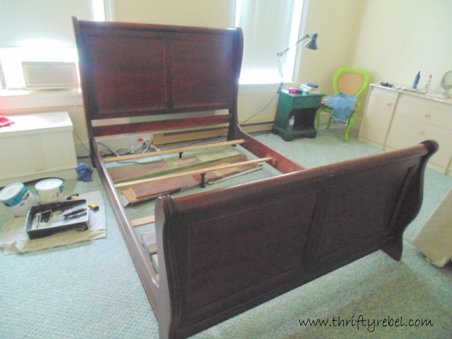 Sleigh Bed Makeover And Master Bedroom Progress Thrifty Rebel Vintage