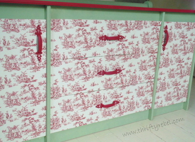 Toile Wallpaper Dresser Makeover