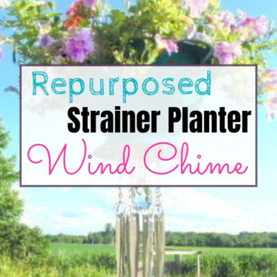 repurposed strainer into planter wind chime 1