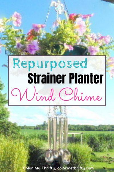repurposed strainer into planter wind chime 1