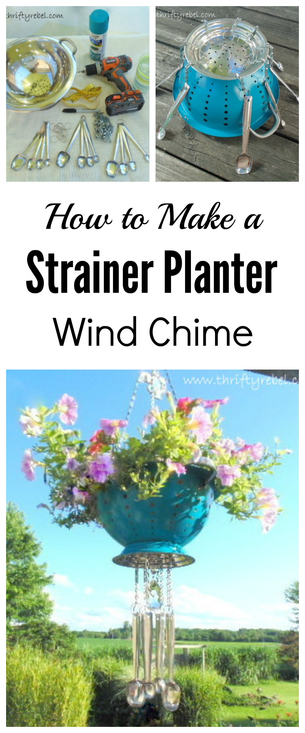 How to maker a strainer planter wind chime