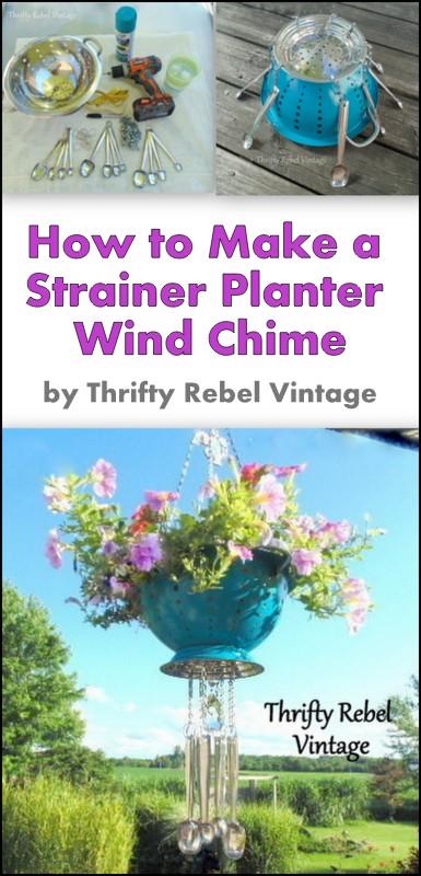 Repurposed strainer planter wind chime
