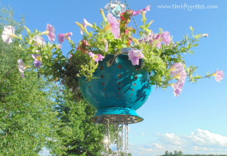 How To Make A Strainer Planter Wind Chime Thrifty Rebel