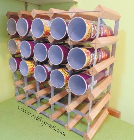 Wine Rack and Pringles Cans Craft Room Storage