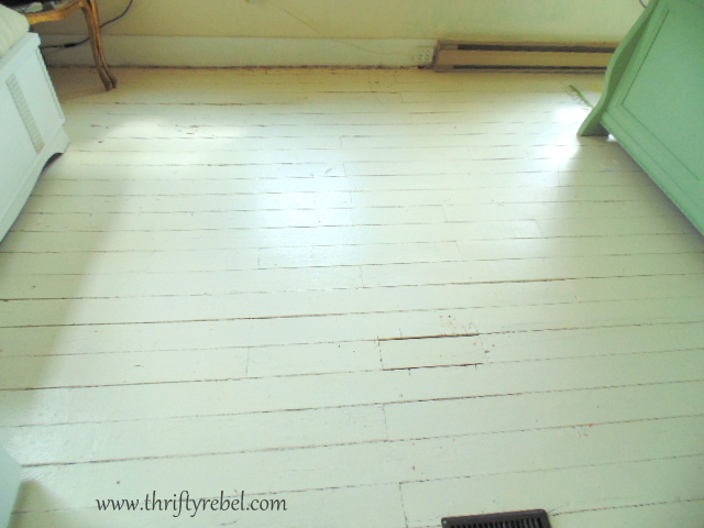 Painting an antique wood floor thrifty rebel vintage for Best paint for wooden floors