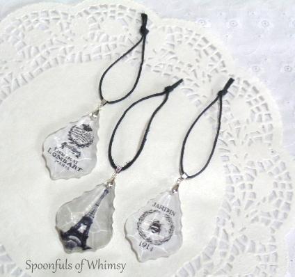 Decoupaged Chandelier Crystal Ornaments