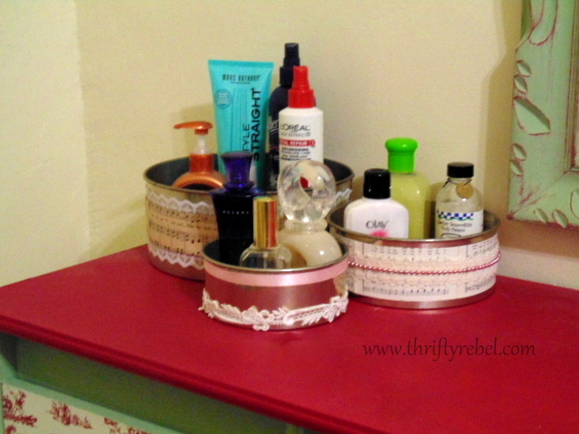 repurposed cake baking pans as dresser organizers
