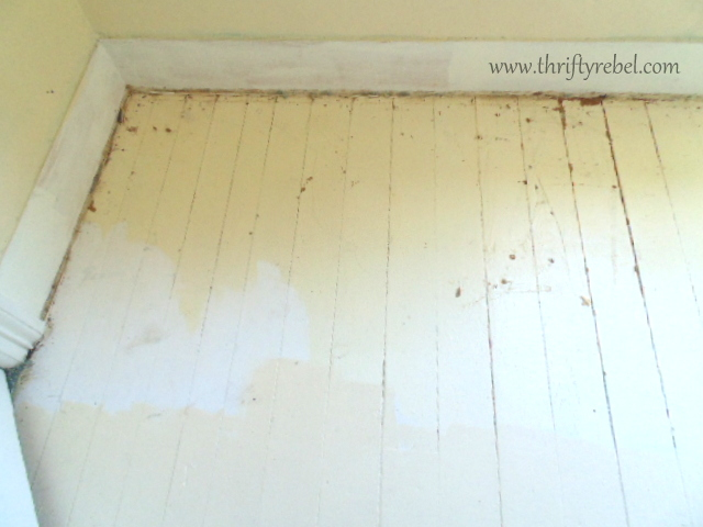 Painting an antique wood floor thrifty rebel vintage for How to get paint out of wood floors
