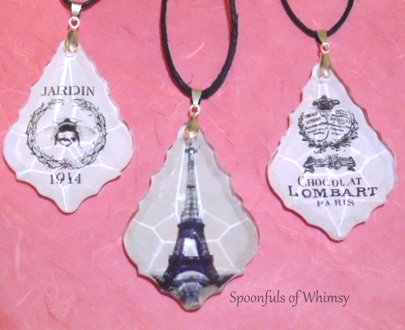 Decoupaged Chandelier Crystal Ornaments