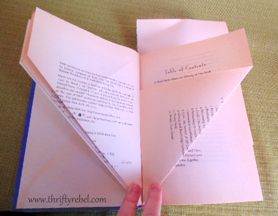 Folding the pages to make a book angel