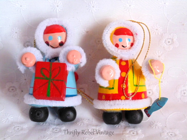 Wooden Eskimo Ornaments