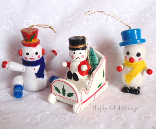 Wooden Snowman Ornaments