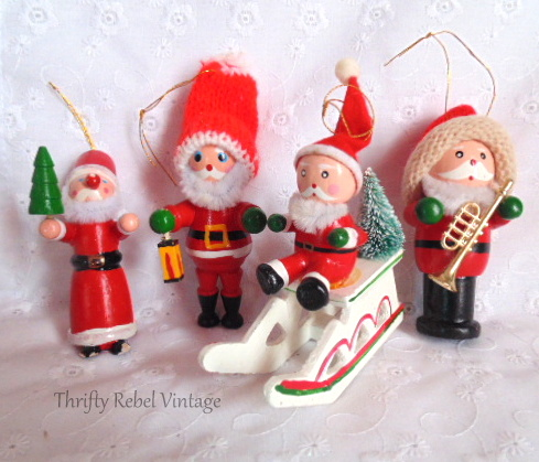 Wooden Santa Ornaments