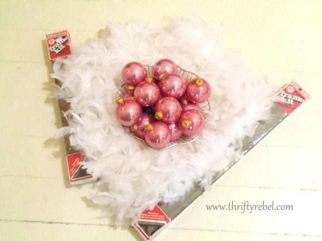 Framed Chicken Wire and Vintage Christmas Ornaments