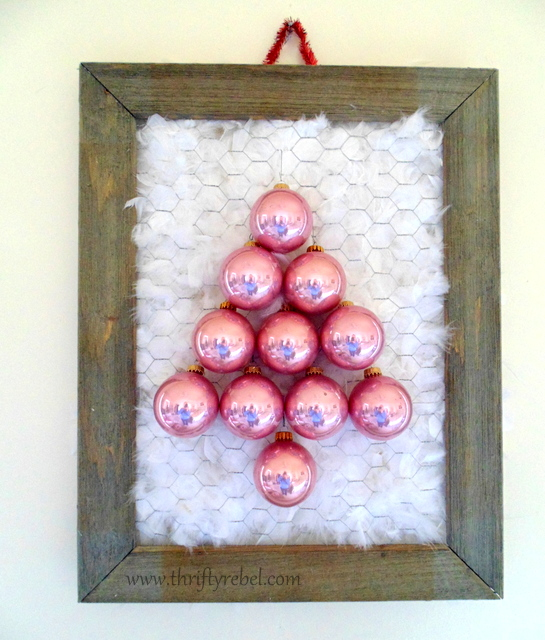 Vintage pink glass ball ornament tree wall art on barnboard and chicken wire frame