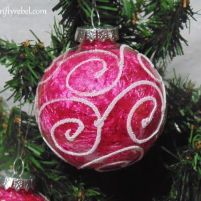 Easy Dollar Store Clear Ball Scarf Ornaments