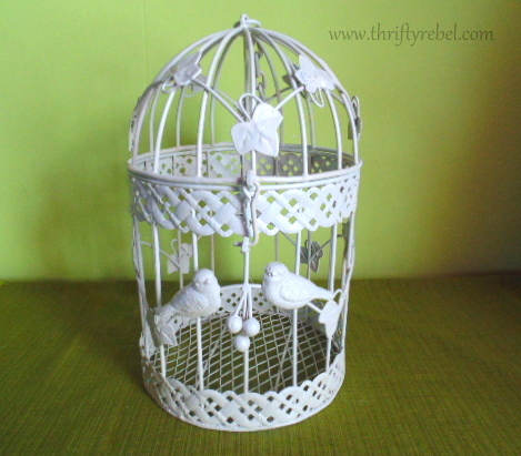 Spray painted Birdcage Makeover