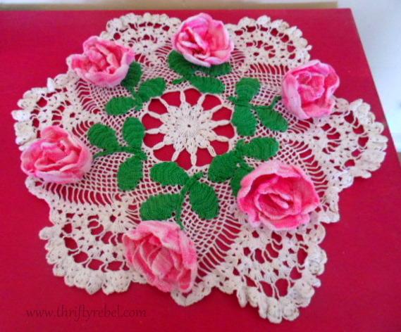 Vintage floral handmake crocheted doily
