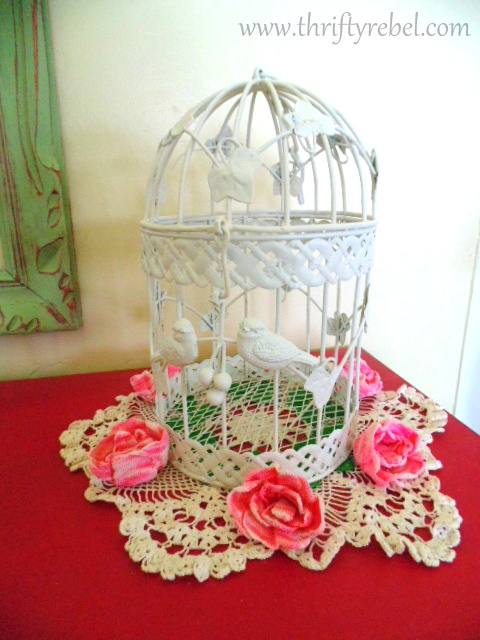 Painted upcycled bird cage Makeover