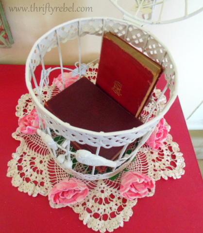 Repurposed birdcage storage