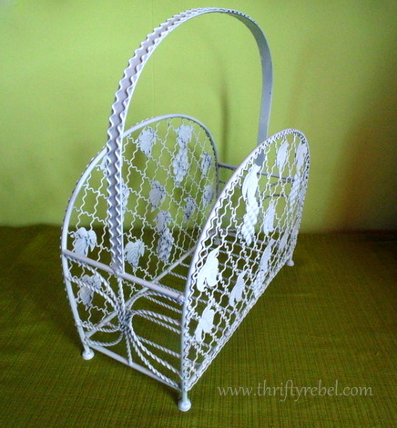 Painted Magazine Rack Makeover