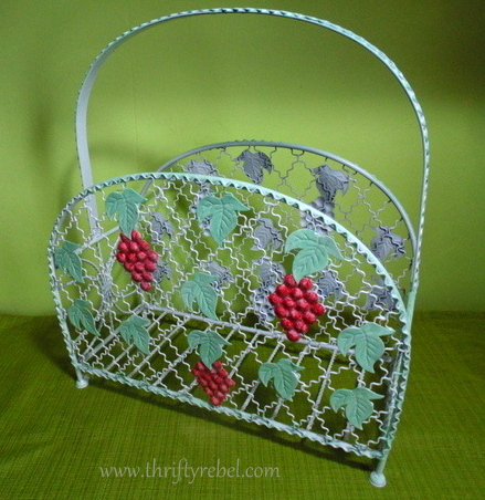 Painted grapes Magazine Rack Makeover