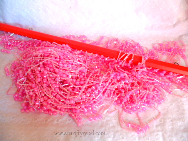 Pink Beaded Curtains