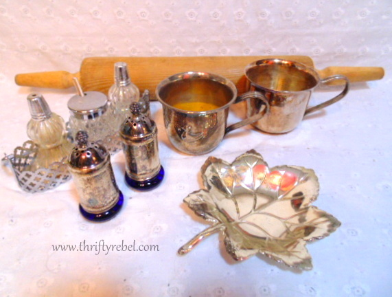 vintage salt & peppers,silver cups, and rolling pin