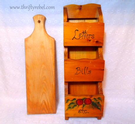 vintage bread board and letter holder