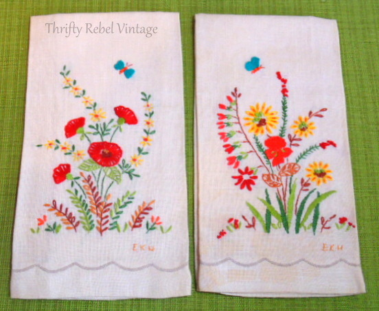vintage floral tea towels