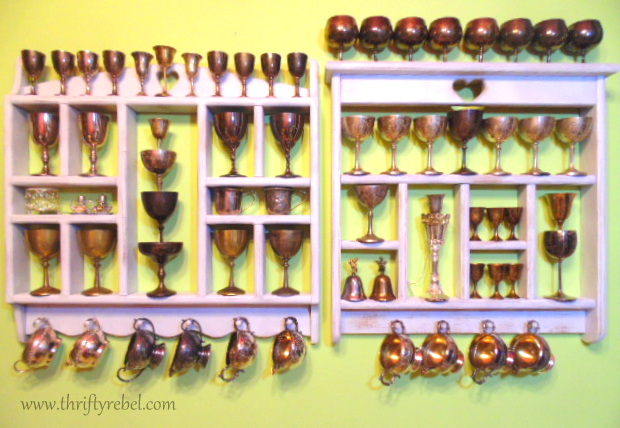 displaying vintage goblet collection