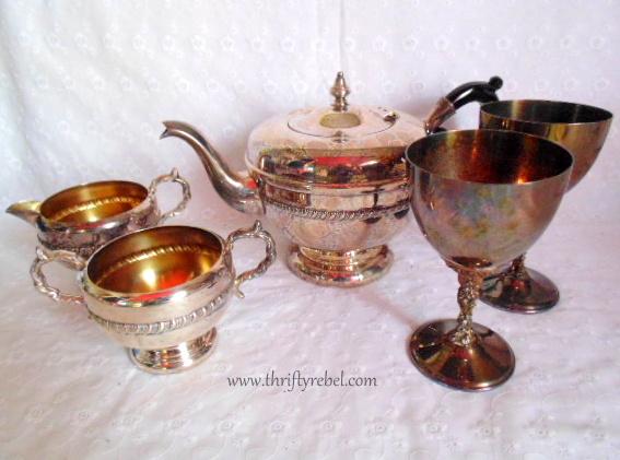 Silver teapot, cream and sugar set