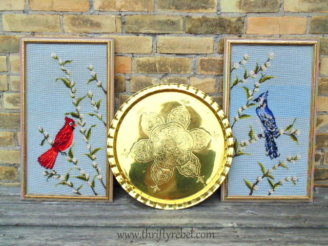 Pair of vintage cardinal and blue jay large framed needlepoint pictures