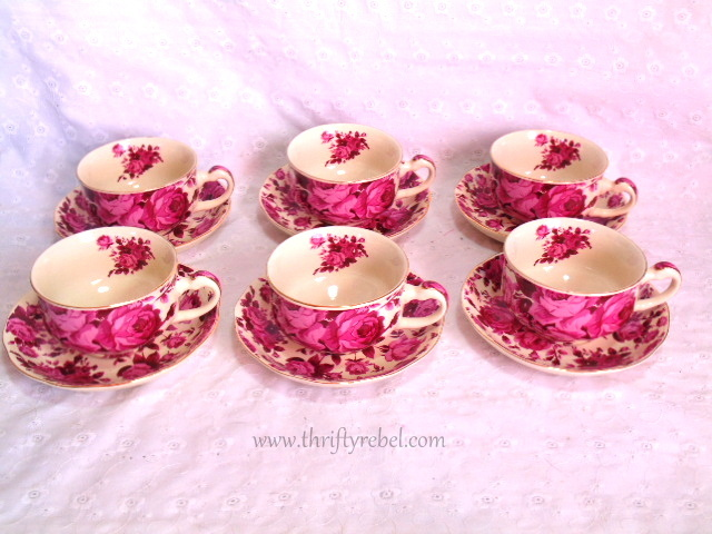 Sun Collection Rose Tea cups and Saucers