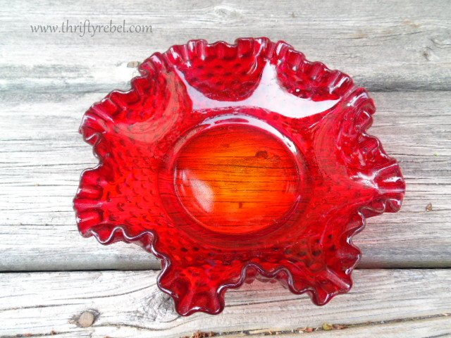 red hobnail glass dish
