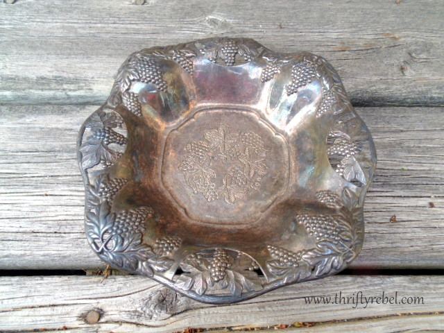 vintage metal dish with elephant head feet