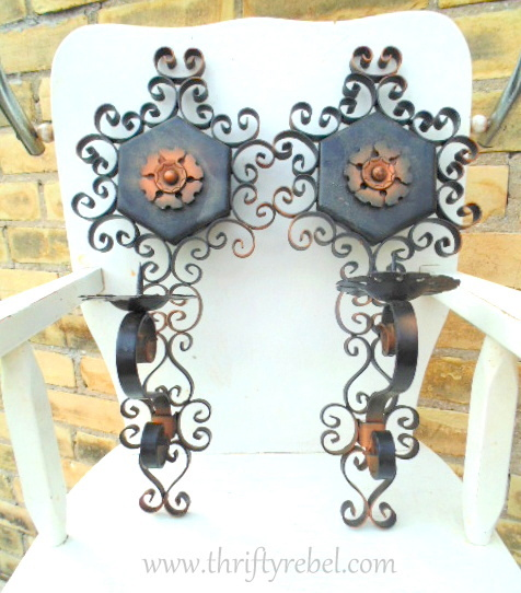 vintage metal candle sconces