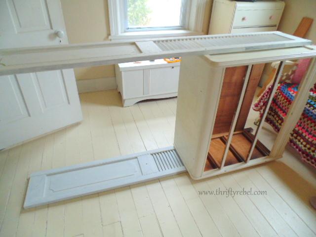 repurposed bifold doors as bookcases