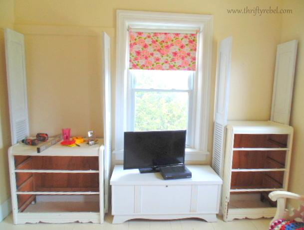 Bifold door and dresser bookcases