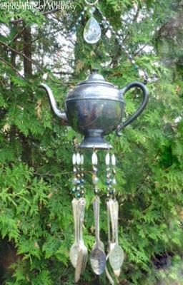 Vintage Teapot Silverware Wind Chimes