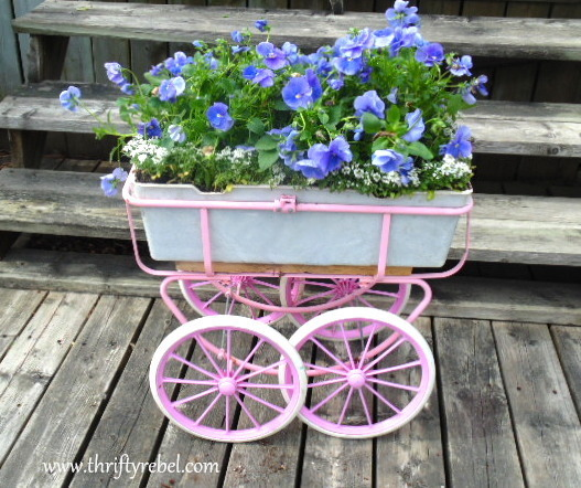 Repurpose a doll carriage into a planter